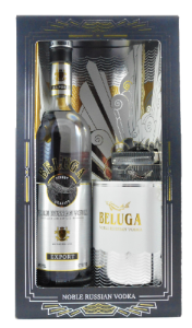 Beluga  Noble Russian Vodka Gift Set Mariinsk Destillery, Russisches Edelwodka-Geschenkset in exklusiver Aussattung